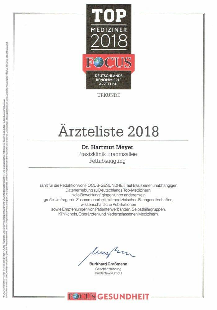 Dr. Hartmut Meyer in der Top Mediziner Liste von Focus 2018