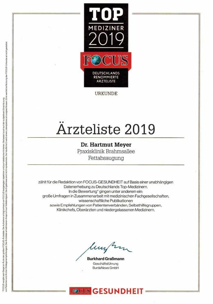 Dr. Hartmut Meyer in der Top Mediziner Liste von Focus 2019