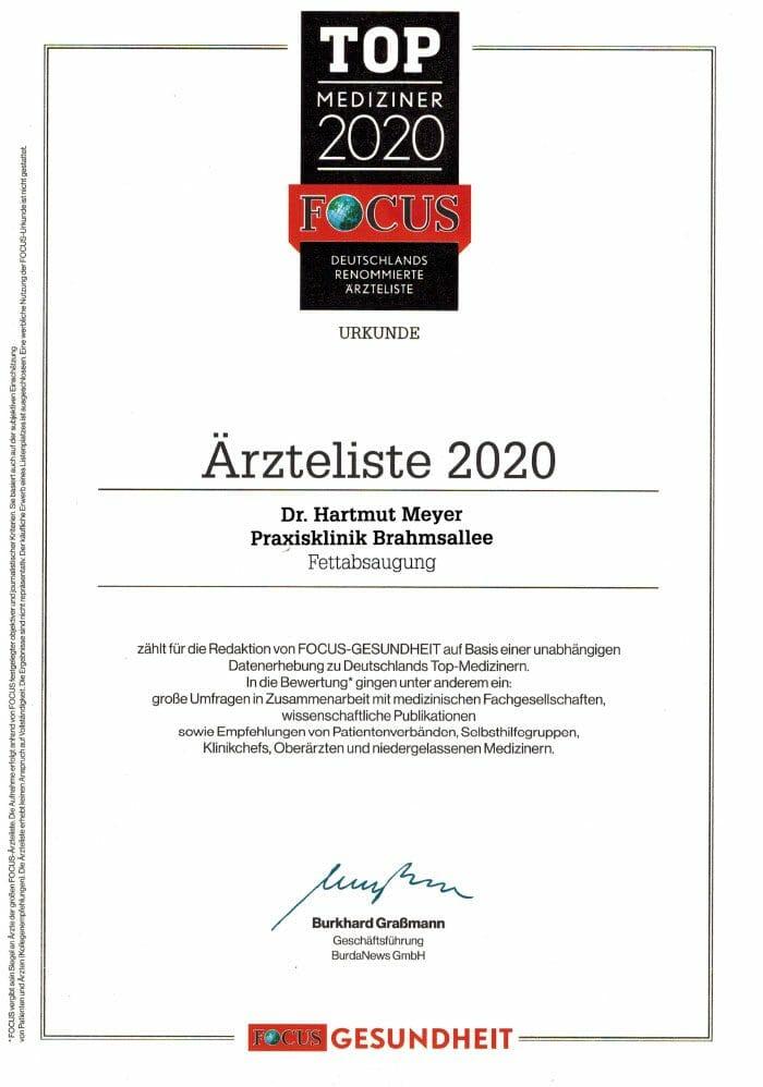 Dr. Hartmut Meyer in der Top Mediziner Liste von Focus 2020