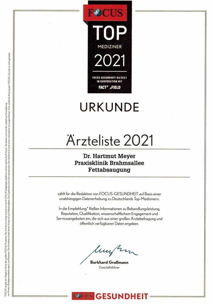 Dr. Hartmut Meyer in der Top Mediziner Liste von Focus 2021